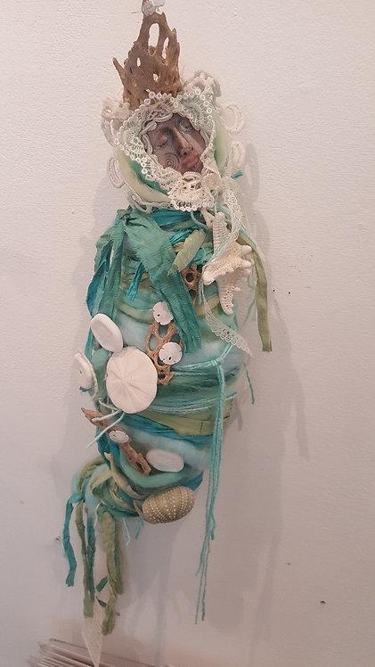 "OOAK Energy Healing Doll""turq/grn"" Katie GardeniaArtistrdenia Artist"