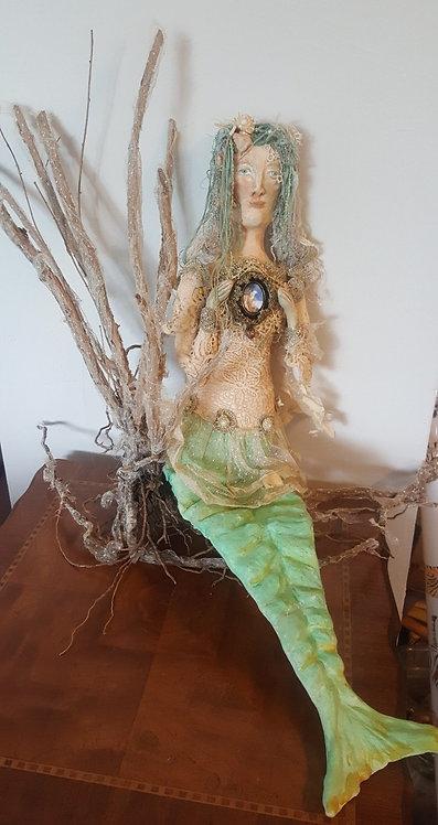 "OOAK ""A Mermaids Tale"" fiber/clay Art Katie Gardenia Artist"