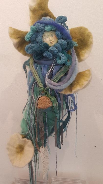 "OOAK Fiber Spirit Art Doll ""soft blues & greens"" Artist Katie Gardenia"