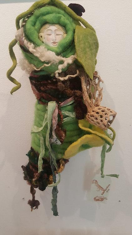 OOAK Fiber Spirit Art Doll yellow/green Katie Gardenia Artist