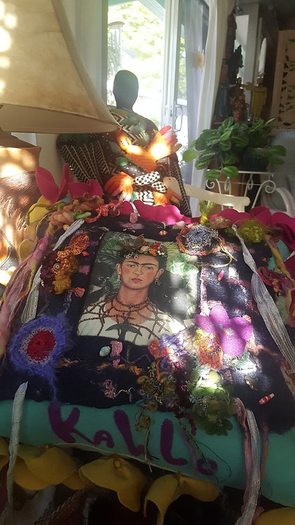 OOAK Frida Art Pillow Artist Katie Gardenia