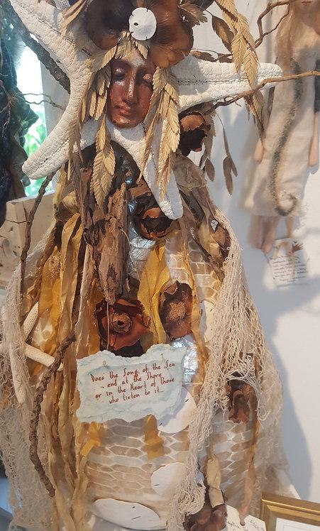 "OOAK ""Song of the Sea Goddess""fiber/clay art Katie Gardenia artist"