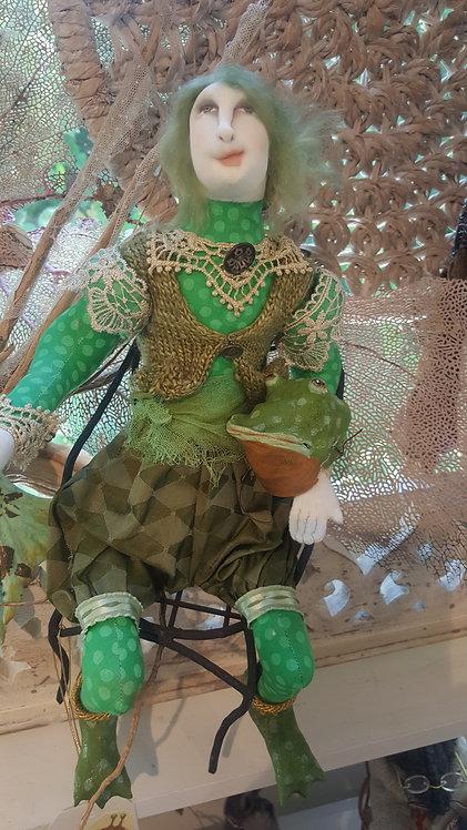 """OOAK """"Kiss a Frog"""" fiber art doll artist Katie Gardenia"""