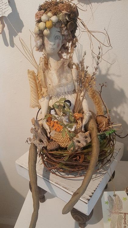 "OOAK ""Forrest Fae"" Fiber Art Doll Artist Katie Gardenia"