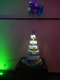 2 spots lit up this cup cake tower