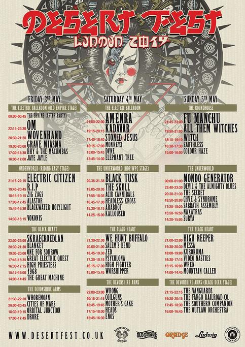 Desertfest London 2019 Set Times