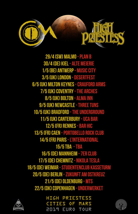 2019 European Tour with Cities of Mars