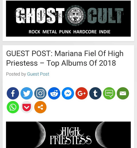 Mariana Fiel of High Priestess - Top Albums of 2018