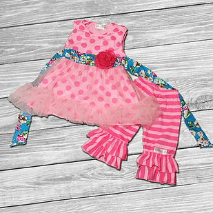 ruffle outfit pink polka