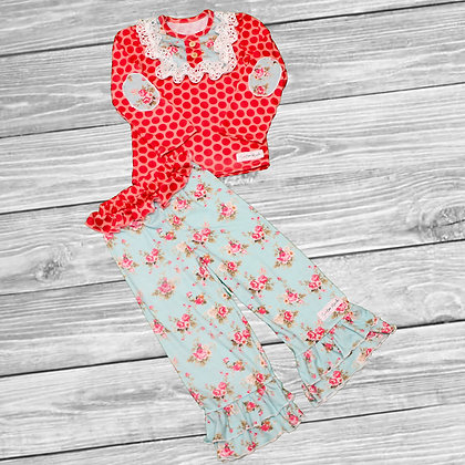 Polka Dot Floral Ruffle Outfit