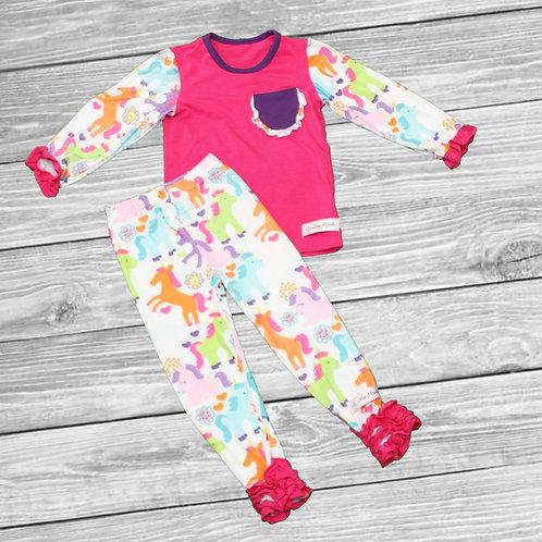 Rainbow Unicorns Ruffle Pajamas