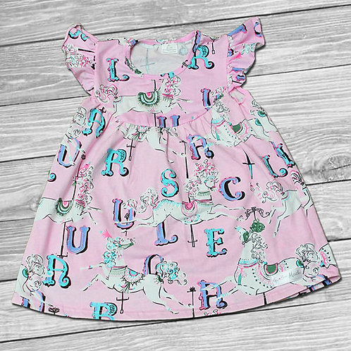 Pink Carousel Ruffle Dress/Tunic