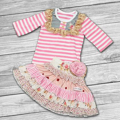 Pink Striped Floral Set