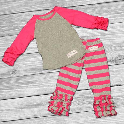 Jubee Striped Ruffle Outfit
