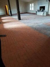 Brick Floor Half finished with Shot Blas