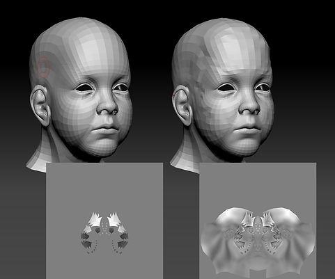 (左)未經雕刻與經過雕刻(右)的base model,以及使用morph traget產生displacement的差別