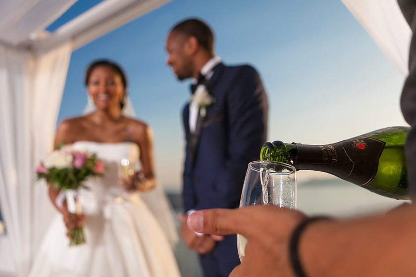 wedding, couple bride and groom drinking champain in champain glass