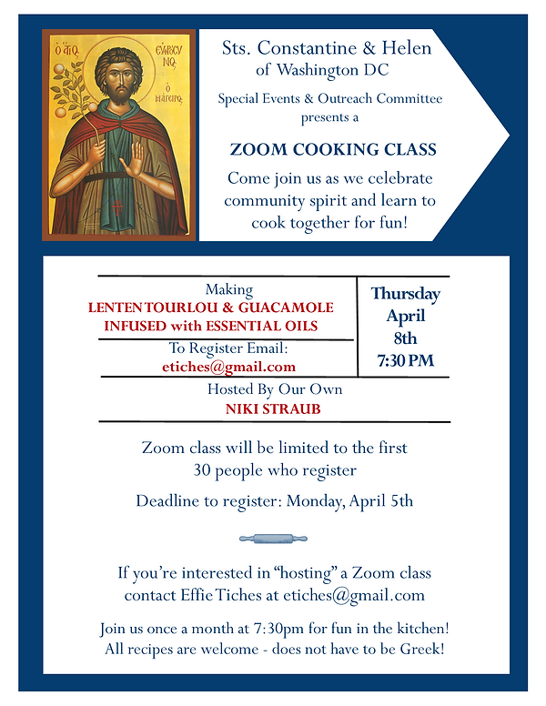 Zoom Cooking Class Flyer - Niki Straub