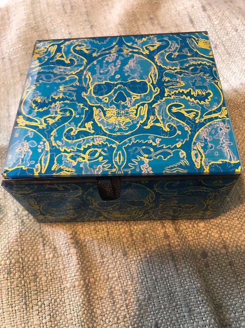 Blue Skull Glass Box