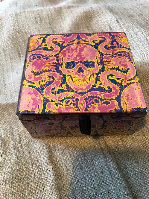Pink Skull Glass Box