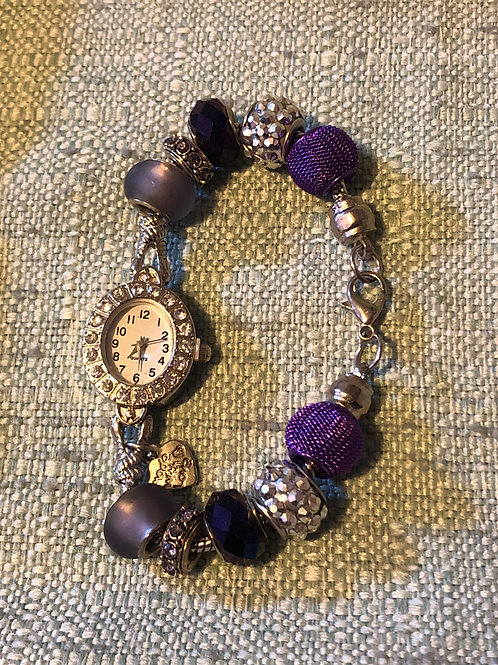 Purple Handmade Beaded Watch