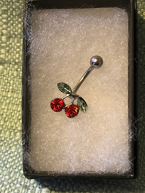 Rhinestone Cherries Belly Ring