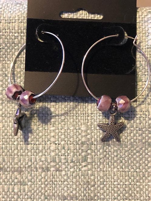 Handmade Starfish Hoop Earrings