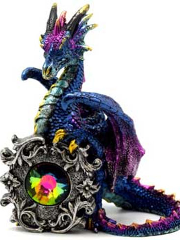 Purple & Blue Dragon with Crystal