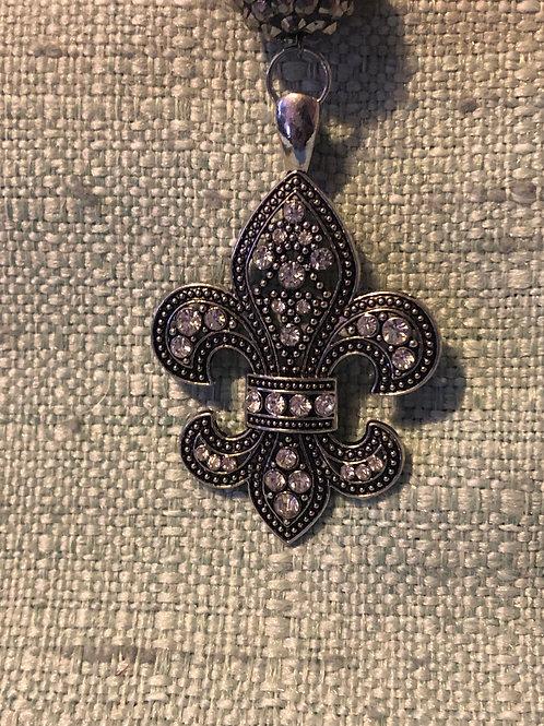 Rhinestone Fleur Di Lis Necklace - Handmade