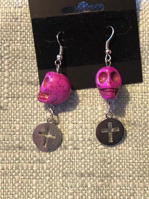 Handmade Pink Skull & Cross Earrings
