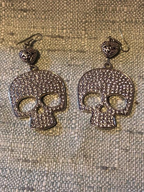 Rhinestone Skull Dangle Earrings