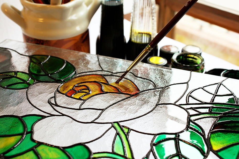 Stained glass rose painted yellow