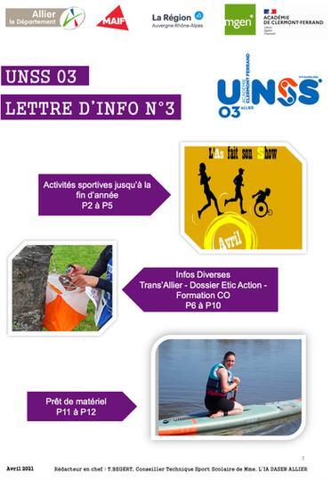 Infos UNSS Allier