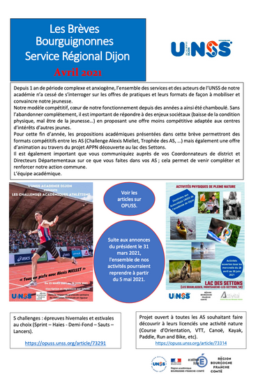 UNSS Dijon Avril 2021