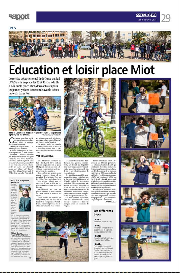 Corse matin 01 04 21 Education et loisir