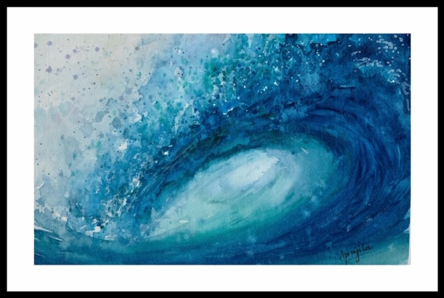 Create brilliant blues using water colors like Aprajita Lal wave from her water series