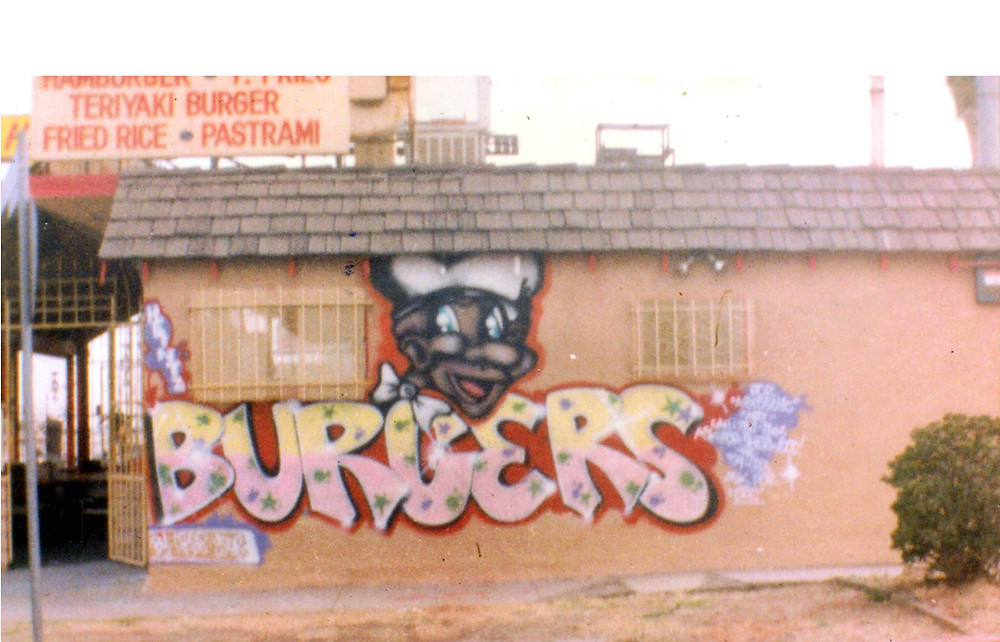 Burger Shop on Crenshaw in the late 1980's painted by 15 year old graffiti style writer King Cre8