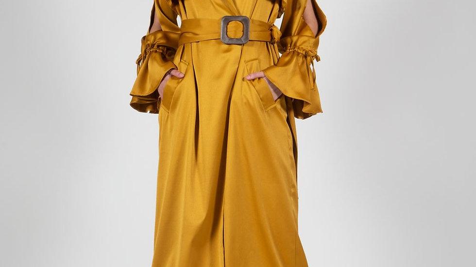 Anji | Gold Satin Trench coat