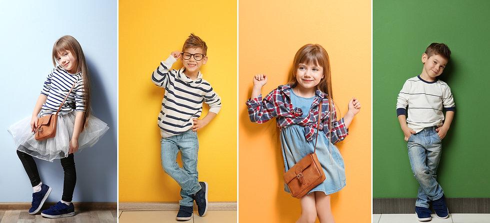 Collage of stylish cute kids posing on c