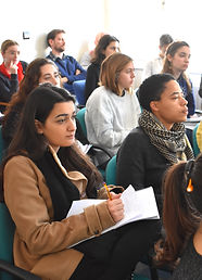 Araibic students practice Arabic listening during a Sociology lecture