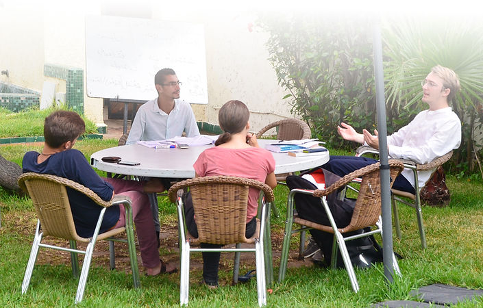 Arabic studens studing outside in Rabat in the summer