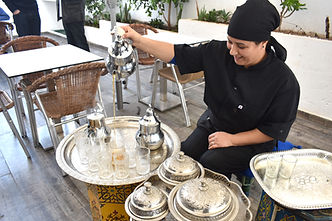 Arabic students are served traditional Moroccan tea