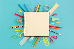 School notebook and various stationery.