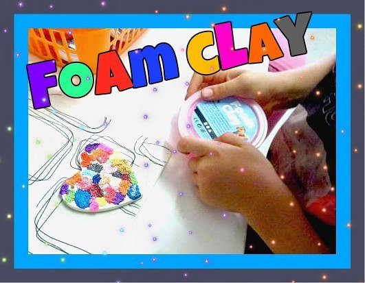 child holding foam clay container