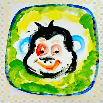 Monkey painted on a plate