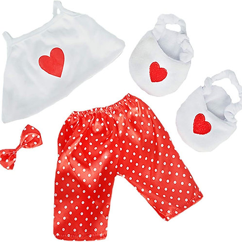 """Satin Heart With Slippers & Bow (16"""")"""