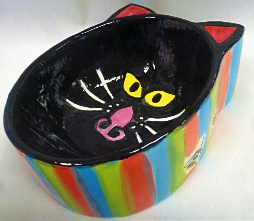 pottery painting cat bowl