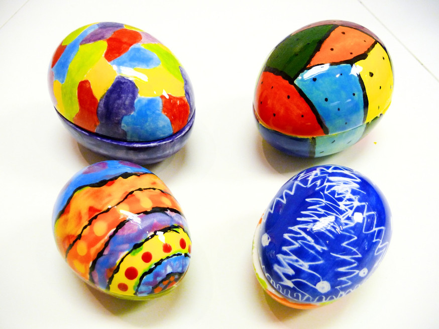bright coloured hand painted eggs