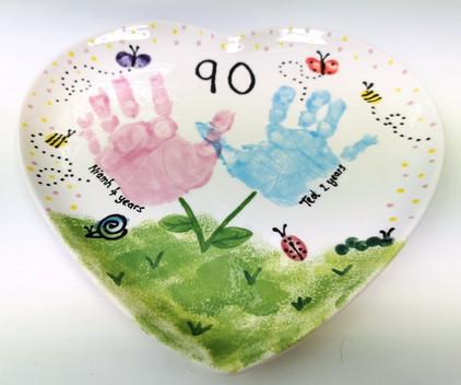 handprint and fingerprint garden painted on plate