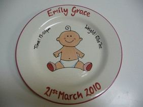 Plate commissioned for a new baby